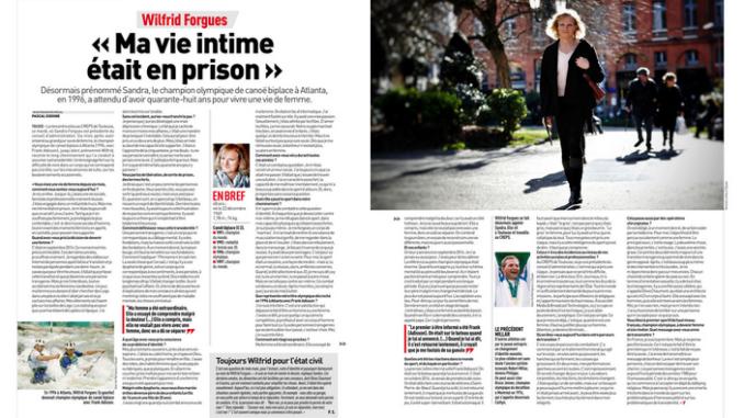 La double page de L'Équipe consacrée à Sandra Forgues, vendredi 9 mars 2018