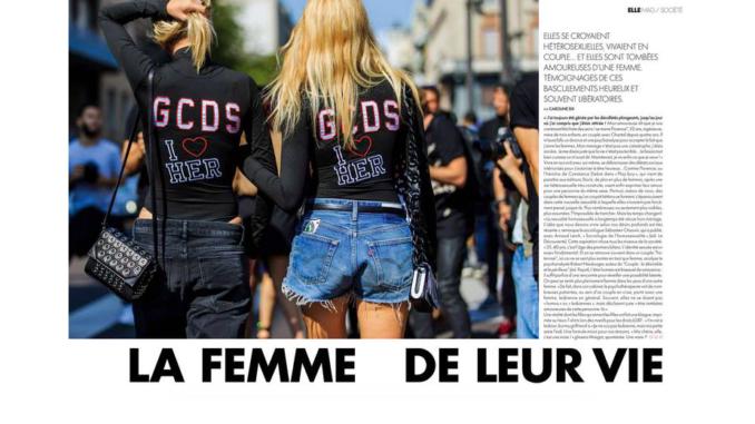 """L'article de """"Elle"""" consacré aux lesbiennes et aux bies ayant été précédemment en couple avec des hommes."""