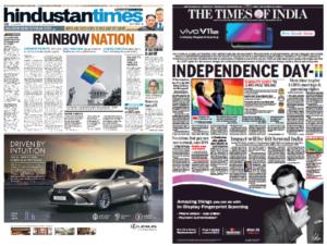 Two English-language Indian daily newspapers' frontpages the day after the verdict came out.
