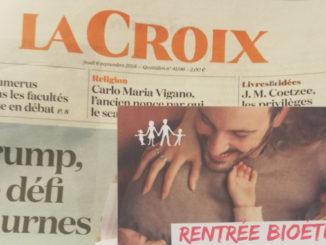 Tract de La Manif pour tous accompagnant l'édition du 6 septembre du quotidien La Croix