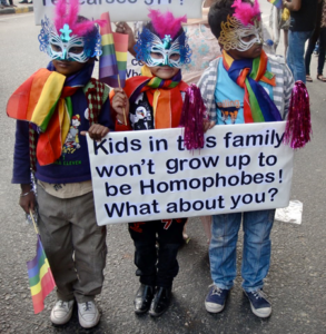 Participants wearing mask at the 2011 Delhi Queer Pride. Photo © Ingrid Therwath