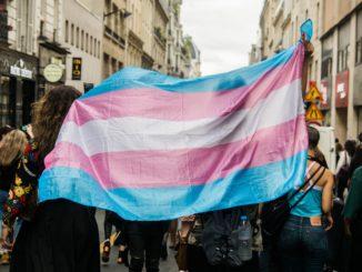 Le drapeau trans brandi lors d'un rassemblement